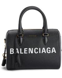 Balenciaga - Ville Logo Leather Bowling Satchel - - Lyst