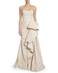 Badgley Mischka - Platinum Sculptural Ruffle Gown - Lyst