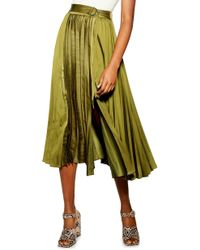 TOPSHOP Pleated Satin Midi Skirt