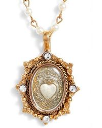 Virgins, Saints & Angels - Oval Pinto Sacred Heart Magdalena Rosary Necklace - Lyst
