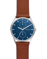 Skagen - Holst Multifunction Leather Strap Watch - Lyst
