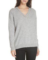 Autumn Cashmere - Imitation Pearl Neck Cashmere Sweater - Lyst