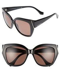 Balenciaga   57mm Cat Eye Sunglasses - Shiny Black/ Brown   Lyst