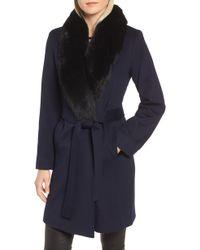 Fleurette - Genuine Fox Fur Shawl Collar Wool Coat - Lyst