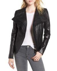 Trouvé - Drape Front Leather Jacket - Lyst