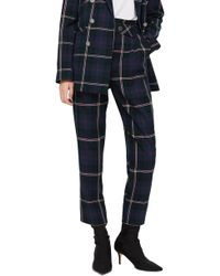 TOPSHOP - Check Belted Trousers - Lyst