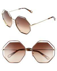 Chloé - 58mm Octagonal Halo Lens Sunglasses - Havana/ Brown - Lyst
