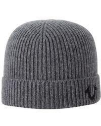 True Religion | Rib Knit Cap - Metallic | Lyst
