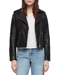 AllSaints - Hadi Leather Biker Jacket - Lyst