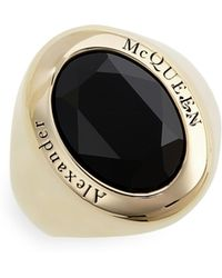 Alexander McQueen - Brass Signet Ring - Lyst