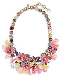 J.Crew - Crystal Flower Statement Necklace - Lyst