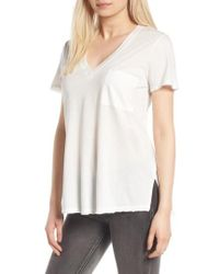 Lush - Raw Edge Side Slit Tee - Lyst