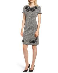 Karl Lagerfeld - Tweed Applique Sheath Dress - Lyst