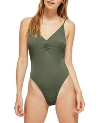 TOPSHOP - Ruched Front Plunge Swimsuit - Lyst