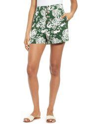 BP. - Leaf Print Linen Blend Shorts - Lyst