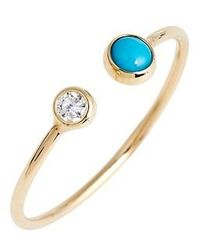 Zoe Chicco | Diamond & Turquoise Open Stack Ring | Lyst