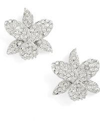 Nina - Small Orchid Swarovski Crystal Stud Earrings - Lyst