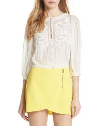 Alice + Olivia - Lavone Embroidered Blouson Top - Lyst