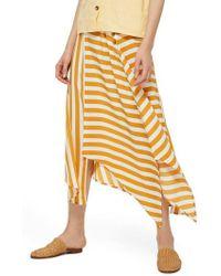 TOPSHOP - Humbug Button Handkerchief Hem Midi Skirt - Lyst