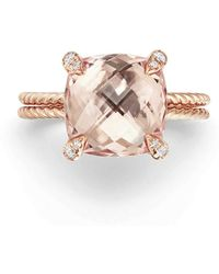 David Yurman - Chatelaine Morganite & Diamond Ring In 18k Rose Gold - Lyst