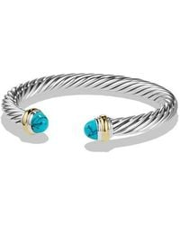 David Yurman - Cable Classic Bracelet With Turquoise And 14k Gold - Lyst