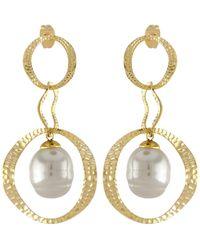 Majorica - Artisian Hammered Gold & Pearl Drop Earrings - Lyst