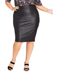 City Chic - Truth Faux Leather Pencil Skirt - Lyst