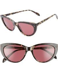 f53e3f000a9 Alexander McQueen - 55mm Cat Eye Sunglasses - Dark Havana Gradient  Violet  - Lyst