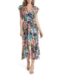 Eliza J - Ruffle Floral Faux Wrap High/low Midi Dress - Lyst