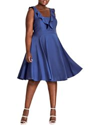 City Chic - Flirty Flutter A-line Dress - Lyst