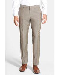 BOSS - 'genesis' Flat Front Wool Trousers - Lyst