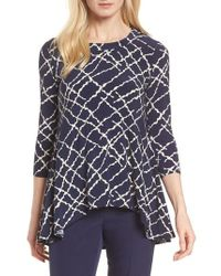 Anne Klein | Squiggle Print High/low Top | Lyst