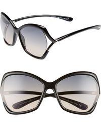 5f7b9dd4be Tom Ford - Astrid 61mm Geometric Sunglasses - Shiny Black  Gradient Smoke -  Lyst