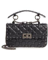 Valentino - Garavani Vitello Rockstud Leather Shoulder Bag - Lyst