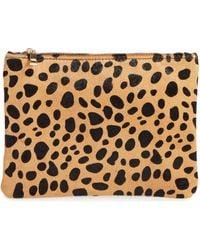 BP. - Leopard Print Genuine Calf Hair Pouch - Lyst