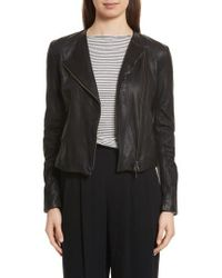 Vince - Cross Front Leather Jacket - Lyst
