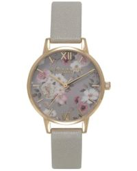 Olivia Burton - 'enchanted Garden' Leather Strap Watch - Lyst