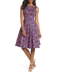 Maggy London - Print Fit & Flare Dress - Lyst
