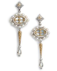 Konstantino - Etched Sterling Silver & Pearl Earrings - Lyst