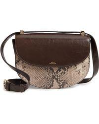 A.P.C. Sac Genève Snake Embossed Leather Shoulder Bag