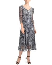 Komarov - Charmeuse & Lace Midi Dress - Lyst