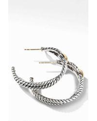 David Yurman - Cable Loop Hoop Earrings With 18k Gold - Lyst