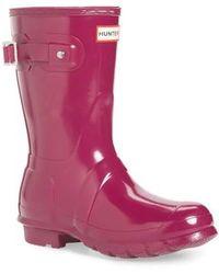 Hunter | 'original Short' Gloss Rain Boot | Lyst