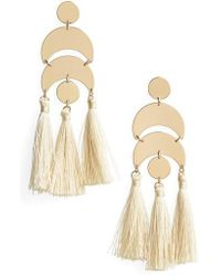 TOPSHOP - Metal & Tassel Drop Earrings - Lyst