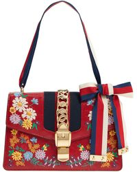 ed527f588 Gucci - Small Sylvie Floral Embroidered Leather Top Handle Shoulder Bag - -  Lyst