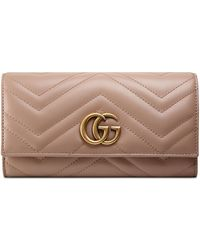 0a10d4ca60f Lyst - Gucci Gg Marmont Matelasse Leather Continental Wallet in Natural