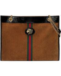 Gucci - Linea Rajah Large Suede Shoulder Tote Bag With Patent Trim - Lyst