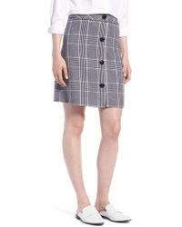 Nordstrom - 1901 Button Front Plaid Skirt - Lyst