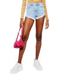 TOPSHOP - Kiri Cutoff High Waist Shorts - Lyst