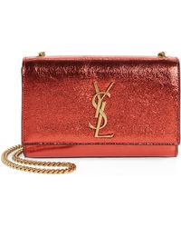 800d3a5d82e Saint Laurent - Small Kate Metallic Leather Crossbody Bag - Lyst